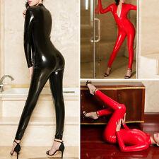 Sexy Damen GLANZ Body Leder Catsuit Bodysuit Zipper Schritt offen Overall Kostüm