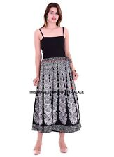 Black Mandala Print Long Skirt Indian Hippie Boho Retro Women Skater Wrap Around