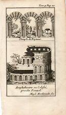 Stampa antica POZZUOLI Tempio di Nettuno e Anfiteatro Napoli 1743 Old print