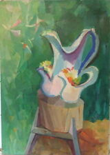 WALTER REINSEL 1905-1979 PENNSYLVANIA MODERN STILL LIFE w PITCHER PAFA OIL