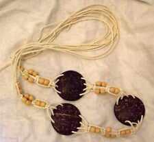 VINTAGE HIPPY HEAVEN MACRAME COCONUT WOOD BEAD BELT 70S BOHO FESTIVAL ETHNIC