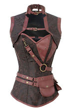 Steel Boned Steampunk Brown Brocade & Faux Leather High Neck Strap Pocket Corset