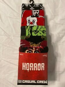 IT Freddy Krueger JASON Horror movie New Men's 6 PAIRS CREW SOCKS shoe 8-12