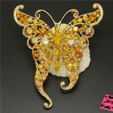 Insect Crystal Charm Brooch Pin Gifts Betsey Johnson Shine Yellow Cute Butterfly