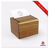 Acacia Wood Recipe Box, Card Divider & Recipe Card,Gift Card Receipt