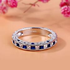 2Ct Princess-Cut Blue Sapphire Vintage Wedding Band Ring 18K White Gold Finish