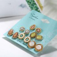 6 Pairs/Set Elegant Boho Women Pearl Crystal Flower Stud Earrings Party Jewelry