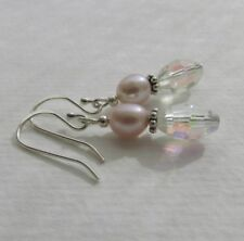 rosa malve Zucht Perlen & Aurora Borealis Quarz Kristall Ohrringe 925 Silber NEU