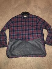 VTG LL Bean Mens Flannel Button Shirt Jacket Plaid Long Sleeve Fleece Lined XLT