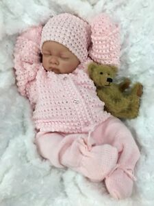 REBORN GIRL DOLL PINK KNITTED SPANISH SET - BUTTERFLY BABIES S016