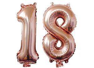 """Big 40"""" 18 Rose Gold Foil Number Balloons Photo Shoot 18th Birthday Float Helium"""