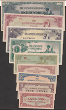 Burma MONEY 1996 ISSUED JAPAN OCCUPATION  9 - NOTES SET, AUNC/UNC