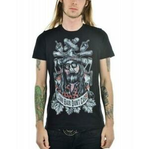 Too Fast Clothing Long Hair Dont Care Mens T-Shirt Goth Tattoo Alternative