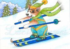 ACEO art print Dog 61 Corgi ski winter from original painting L.Dumas