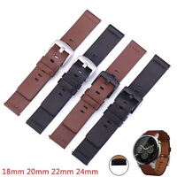 18mm 20mm 22mm 24mm Genuine Leather Watch Band Wrist Strap Bracelet w Quick Pins