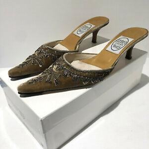 Emma Hope Star of India embroidered pointy toe mule heels shoes 38.5 5.5 VGC