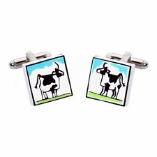 Black & White Cow Cufflinks by Sonia Spencer, boxed. Hand painted, RRP £20