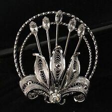 """Brooch 1 5/8"""" X 1 7/16"""" Vintage Estate Sterling Silver Rhinestone Floral Amlee"""