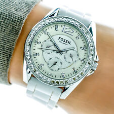 Fossil Womans Watch ES2344 White CZ Crystals Day Date Hour Working 79513