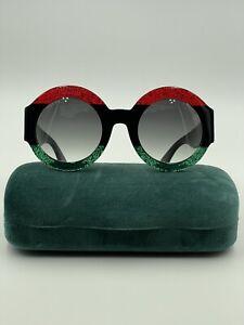 Gucci Women's Sunglasses New 0084s 001 51-26-140 Red/Black/Green Round W/Case