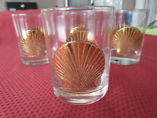 Vintage Set of 4 Culver Gold Scallop Shell Lo-Ball Rocks Glasses Bar Ware