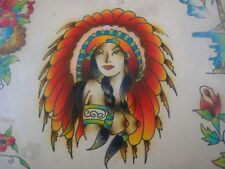 Vintage Tattoo Flash...Princess...11'' x 14 '' Hand colored