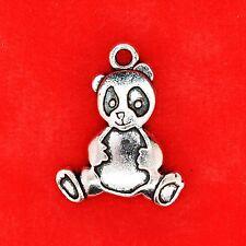 3 x Tibetan Silver Lovely Panda Zoo Animals Charm Pendants Jewellery Making