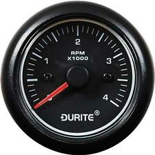 Durite Tachometer 52mm 12/24V Black Face  4,000 RPM Petrol & Diesel Marine Van