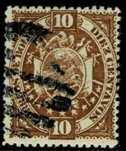Bolivia #43(1) 1894 10 centavos yellow brown COATS OF ARMS OF BOLIVIA Used