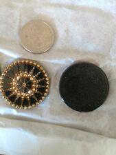 Vintage Rhinestones HUGE Rounds 34 MM Black & Gold Starburst Must SEE Unique