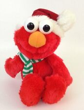 Vintage Tyco 1997 Christmas Elmo Stuffed Plush Santa Hat w/ Green White Scarf