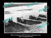 OLD 8x6 HISTORIC PHOTO OF MASSEY FERGUSON MF35 TRACTORS PUMPING WATER 1963
