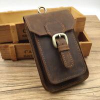 Vintage Waist Bag Genuine Leather Phone Pouch Men's Outdoor Hiking Hook Belt Hip