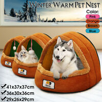 Pets Cat Dog House Kennel Puppy Cave Sleeping Bed Soft Mat Pad Winter Warm Nest