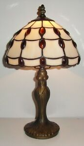 Amber Jewel Tiffany Stained Glass Hand Crafted Table Lamp JUL8TL2
