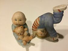 VINTAGE CABBAGE PATCH PORCELAIN BABY BOY W/TEDDY BEAR AND PLAYING CHILD. 1984.