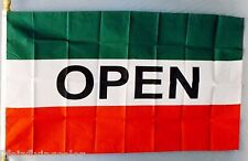"""OPEN RED WHITE GREEN 3X5' FLAG SIGN 36X60"""" MESSAGE CONCESSION"""