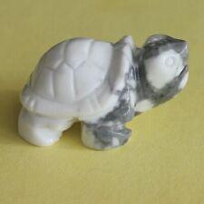 1.5'' Carved gemstone crystal white turquoise turtle figurine animal carving
