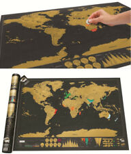 Scratch Off World Map Travel Poster Personalized Journal Log Gift Size 42*30cm