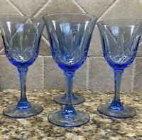 Set Of 4 Vintage Fostoria Avon American Blue Cut Crystal Wine Glasses  Goblets