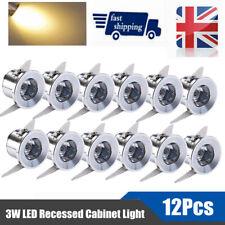 12x 3w LED Recessed Small Cabinet Mini Spot Lamp Ceiling Downlight Kit Fixture