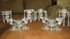 Pair Baroque #1513 Heisey 3 Lt. Glass Crystal Candelabras w/Bobeche and Prisms!
