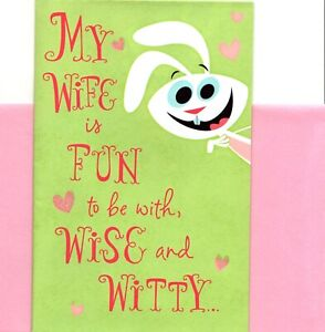 Funny Happy Anniversary Wife Pink Wise & Witty Bunny American Greetings Card