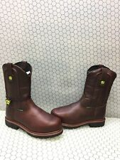 "John Deere 11"" Brown Leather Steel Toe Pull On Work Boots Men's Size 11 W"
