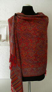 CASHMERE, großer Schal, Stola, Pashmina, rot, blau, 100 % Kaschmir