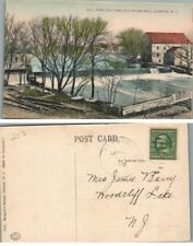 ANTIQUE POSTCARD MILL POND & DAM OLD STONE MILL CLINTON N.J.