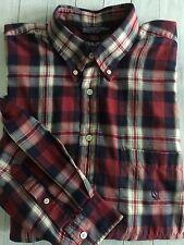 Men's Vtg 90s Nautica Long Sleeve Button Plaid Shirt Navy Red Cream Cotton Xl
