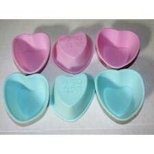 Juego de 6 Mini Molde para hornear silicona Corazón Rosa Azul Pasteles cupcake