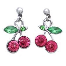 Pink Crystal Cherry Fruit Charm Dangle Post Earrings Jewelry Gift For Girls