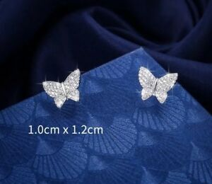 Silver Plated Cubic Zirconia Butterfly Earrings